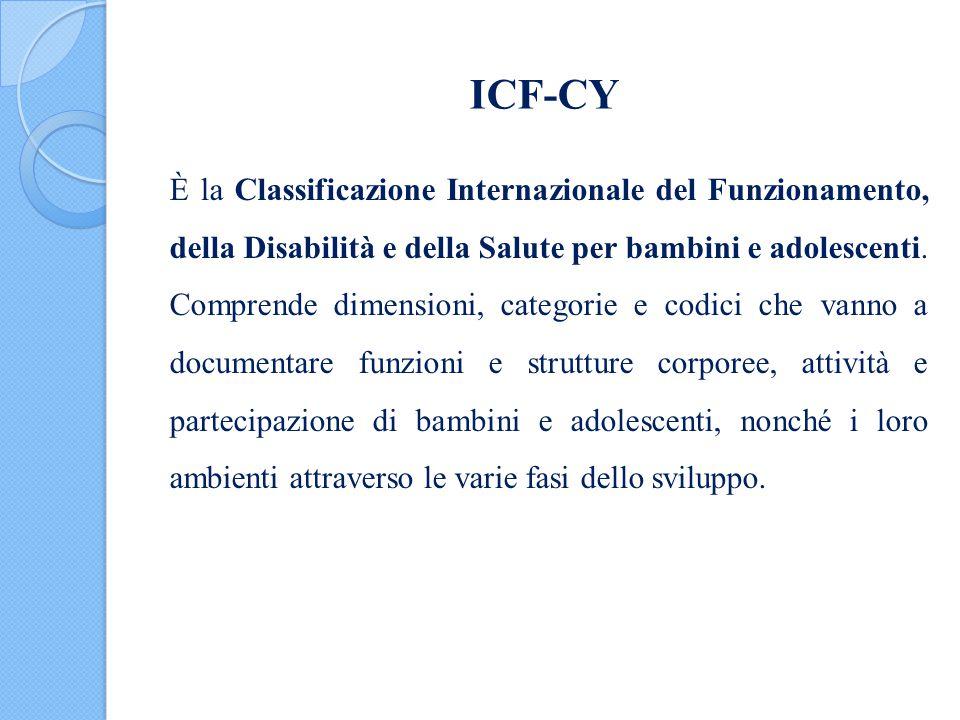 ICF-CY È la Classificazione Internazionale del Funzionamento, della Disabilità e della Salute per bambini e adolescenti. Comprende dimensioni, categor