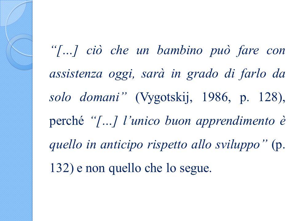 """""""[…] ciò che un bambino può fare con assistenza oggi, sarà in grado di farlo da solo domani"""" (Vygotskij, 1986, p. 128), perché """"[…] l'unico buon appre"""