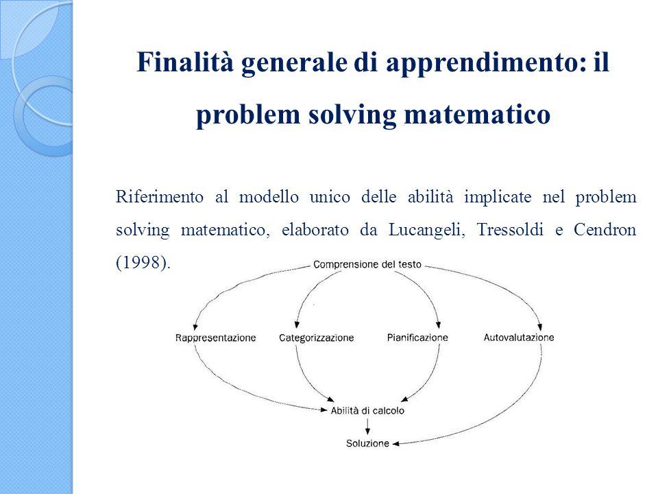 Finalità generale di apprendimento: il problem solving matematico Riferimento al modello unico delle abilità implicate nel problem solving matematico,