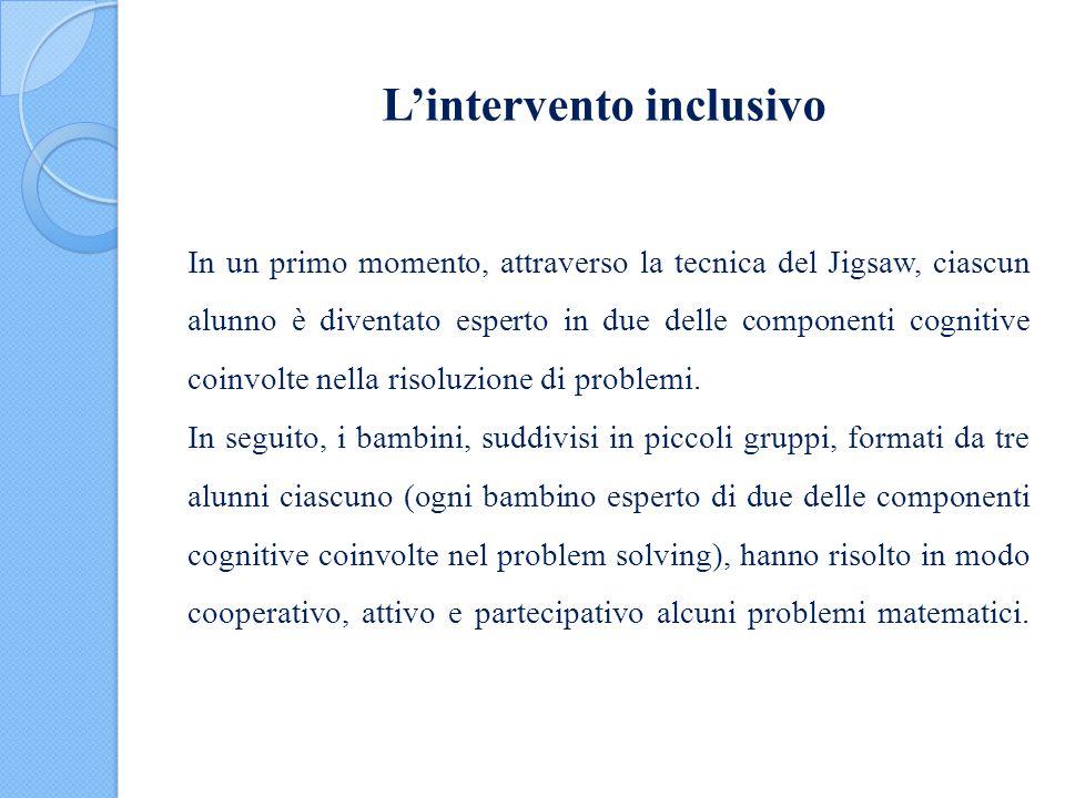 L'intervento inclusivo In un primo momento, attraverso la tecnica del Jigsaw, ciascun alunno è diventato esperto in due delle componenti cognitive coi