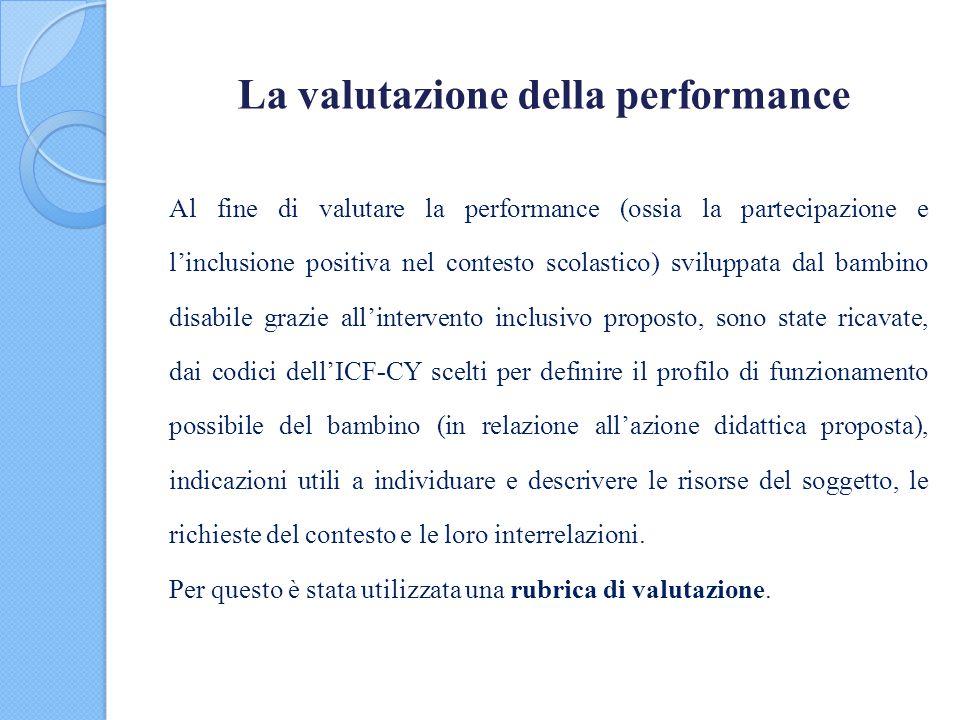La valutazione della performance Al fine di valutare la performance (ossia la partecipazione e l'inclusione positiva nel contesto scolastico) sviluppa