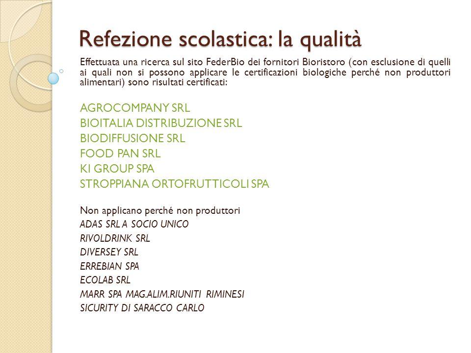 Refezione scolastica: la qualità Effettuata una ricerca sul sito FederBio dei fornitori Bioristoro (con esclusione di quelli ai quali non si possono a