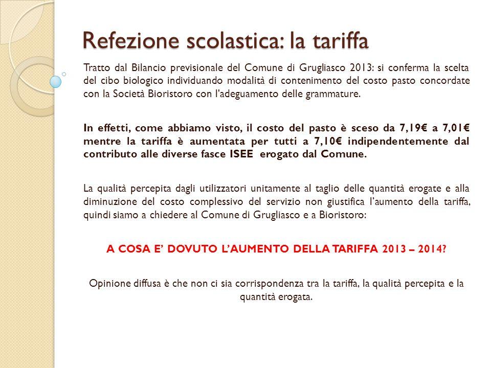 Refezione scolastica: la tariffa Tratto dal Bilancio previsionale del Comune di Grugliasco 2013: si conferma la scelta del cibo biologico individuando