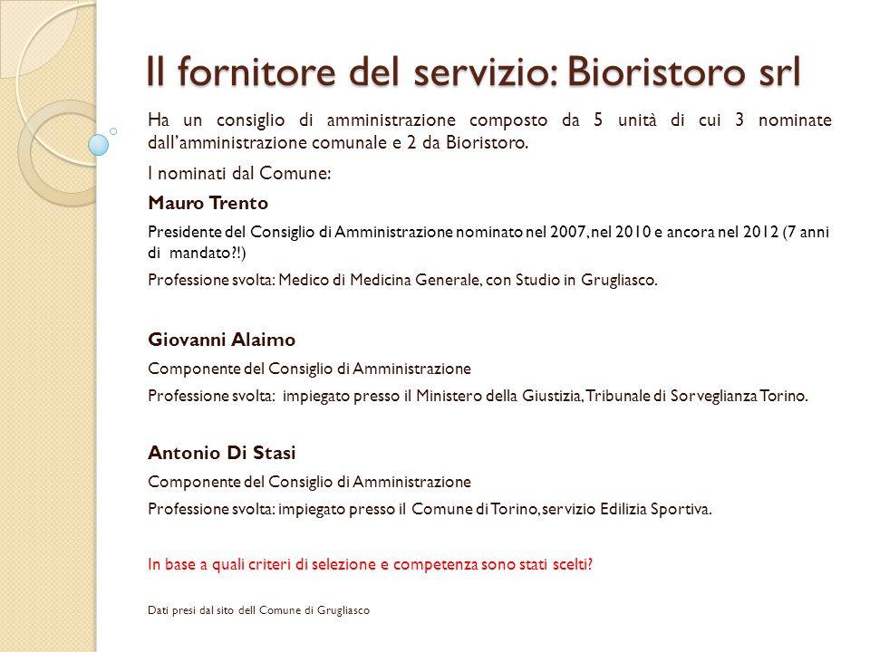 Il fornitore del servizio: Bioristoro srl Ha un consiglio di amministrazione composto da 5 unità di cui 3 nominate dall'amministrazione comunale e 2 d