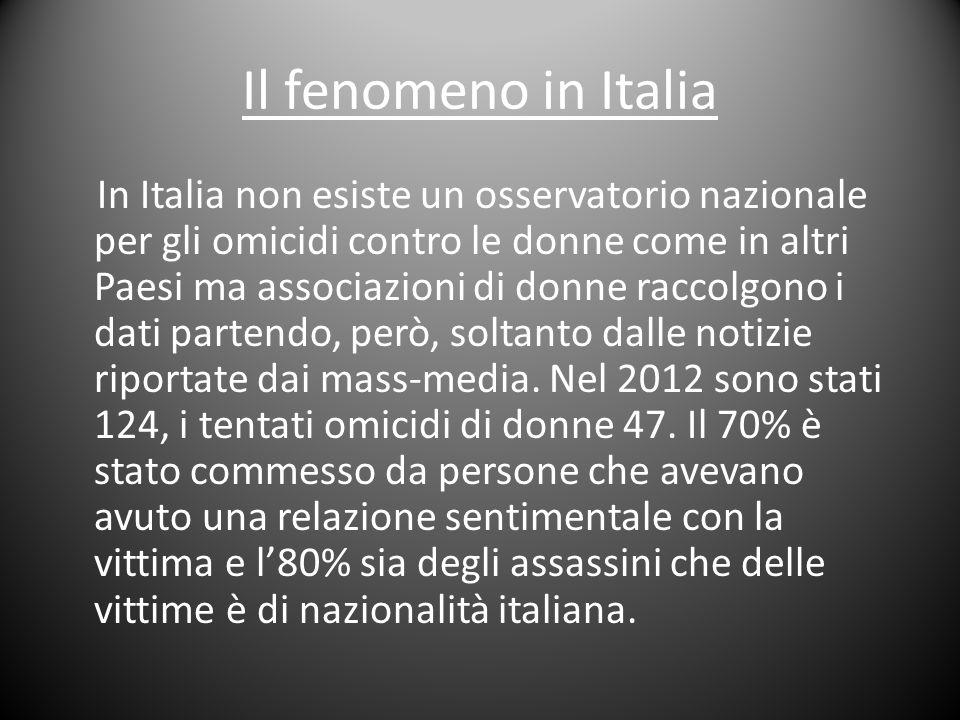 Il fenomeno in Italia In Italia non esiste un osservatorio nazionale per gli omicidi contro le donne come in altri Paesi ma associazioni di donne racc