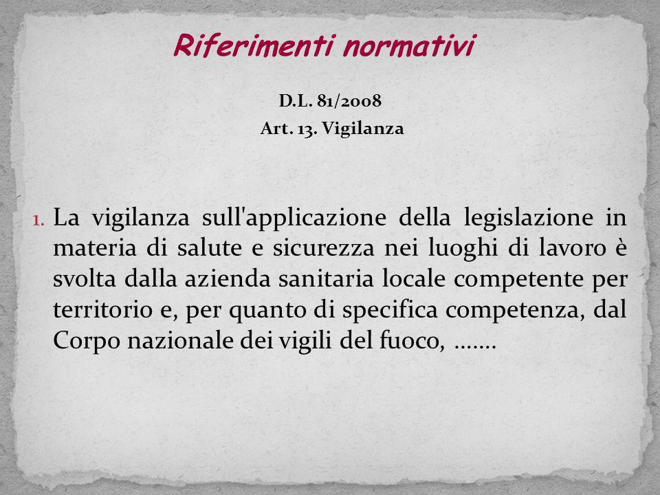 D.L.81/2008 Art. 13. Vigilanza 1.
