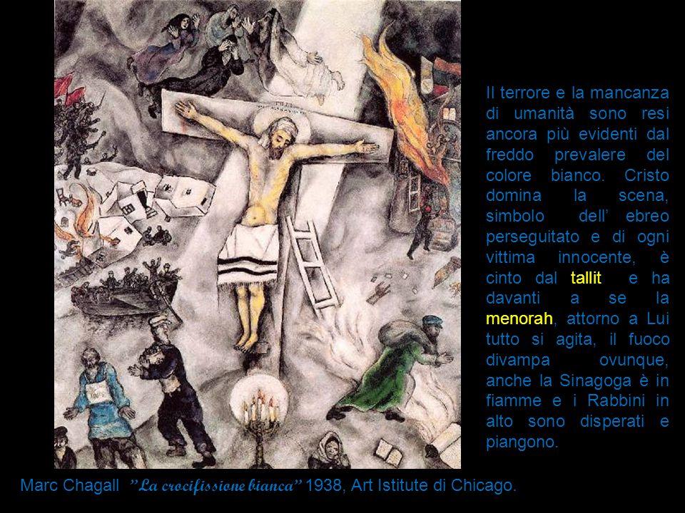 Il terrore e la mancanza di umanità sono resi ancora più evidenti dal freddo prevalere del colore bianco. Cristo domina la scena, simbolo dell' ebreo