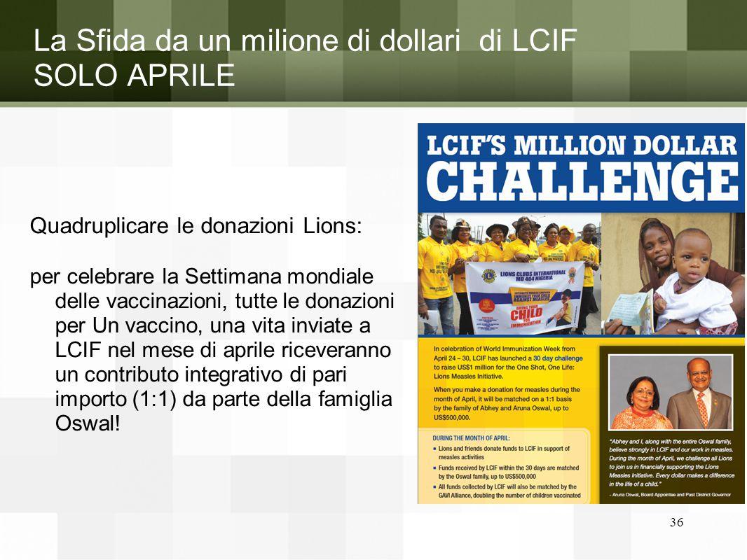 La Sfida da un milione di dollari di LCIF SOLO APRILE Quadruplicare le donazioni Lions: per celebrare la Settimana mondiale delle vaccinazioni, tutte