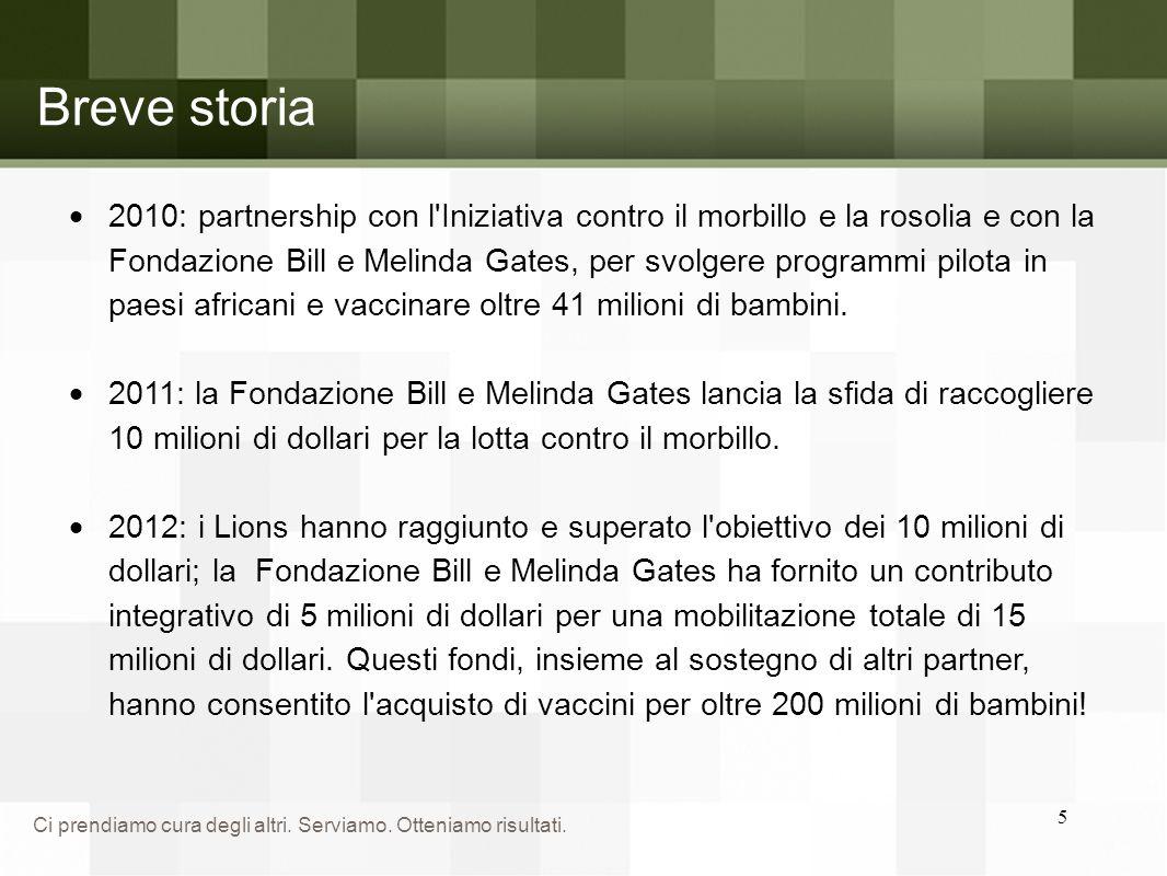 Ci prendiamo cura degli altri. Serviamo. Otteniamo risultati. 5 Breve storia  2010: partnership con l'Iniziativa contro il morbillo e la rosolia e co