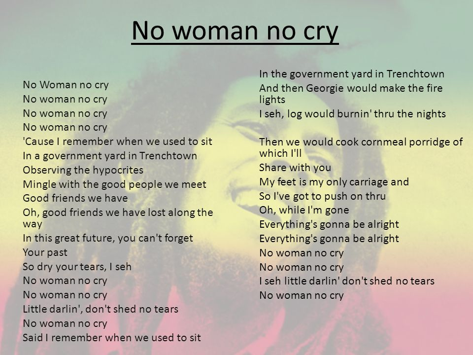 No woman no cry No Woman no cry No woman no cry 'Cause I remember when we used to sit In a government yard in Trenchtown Observing the hypocrites Ming