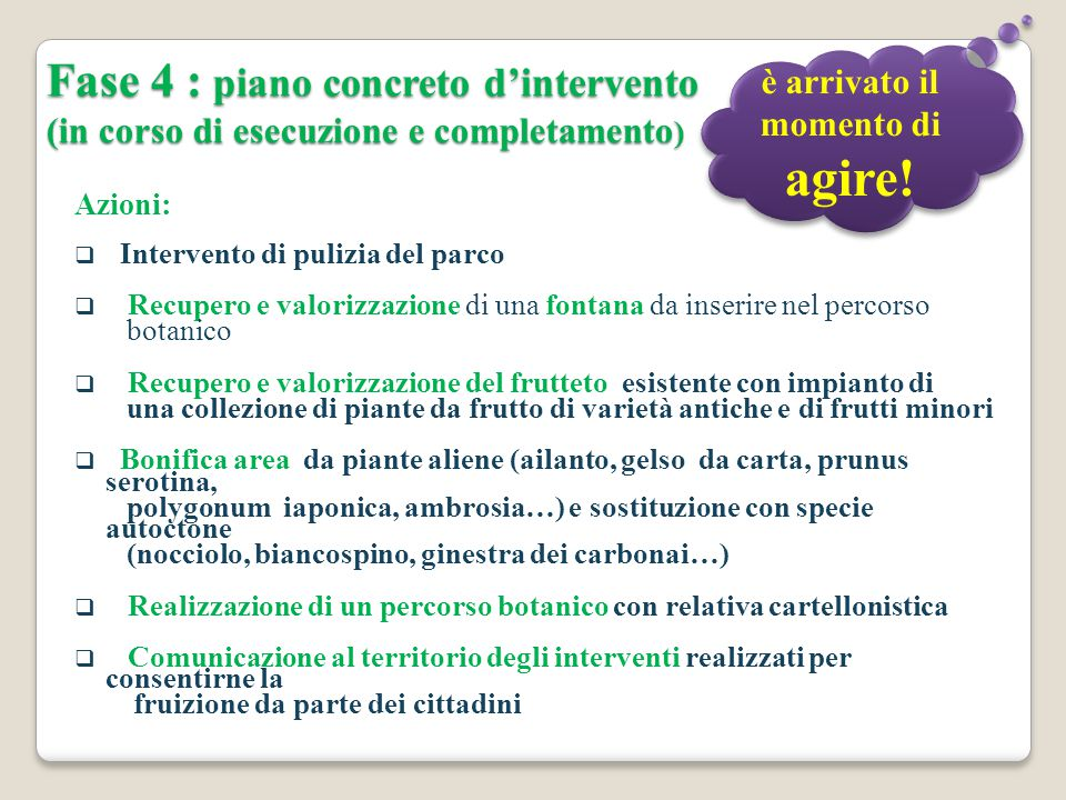 Fase 4 : piano concreto d'intervento (in corso di esecuzione e completamento ) Azioni:  Intervento di pulizia del parco  Recupero e valorizzazione d