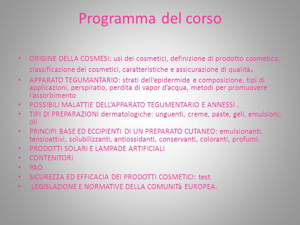Programma del corso ORIGINE DELLA COSMESI: usi dei cosmetici, definizione di prodotto cosmetico, classificazione dei cosmetici, caratteristiche e assi