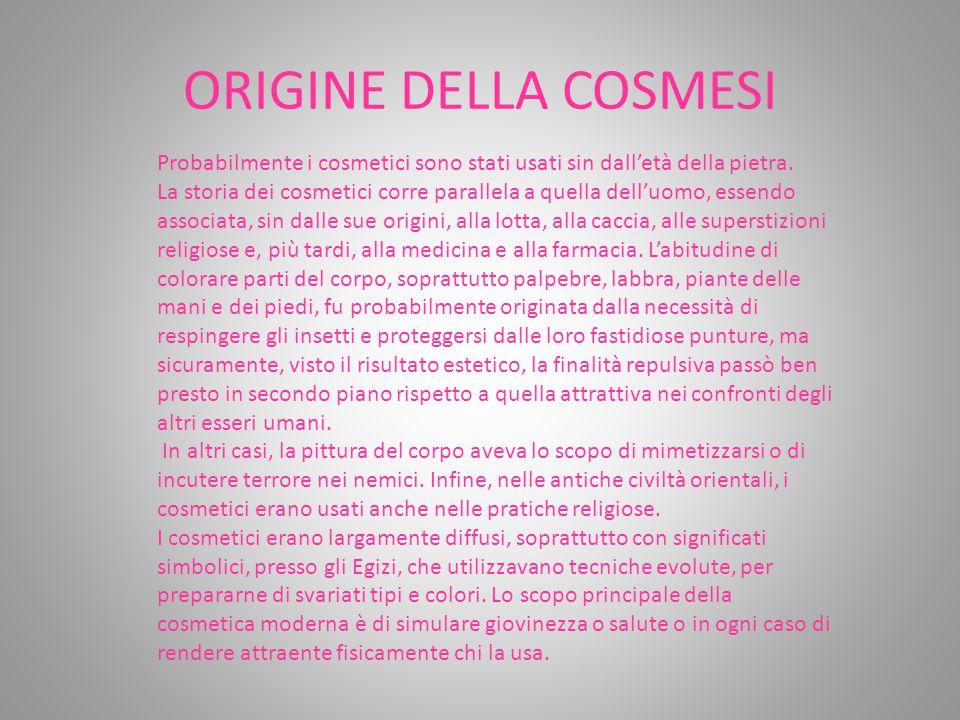 ORIGINE DELLA COSMESI Probabilmente i cosmetici sono stati usati sin dall'età della pietra. La storia dei cosmetici corre parallela a quella dell'uomo