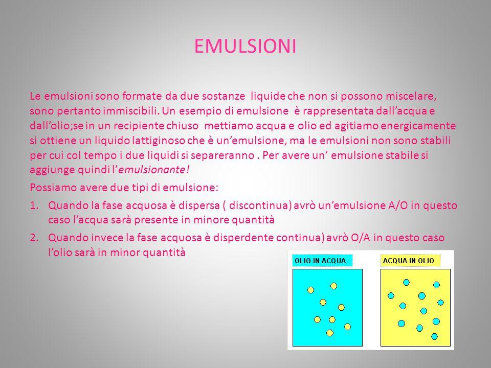 EMULSIONI Le emulsioni sono formate da due sostanze liquide che non si possono miscelare, sono pertanto immiscibili. Un esempio di emulsione è rappres