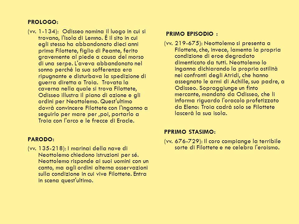 PROLOGO: (vv. 1-134): Odisseo nomina il luogo in cui si trovano, l'Isola di Lemno. É il sito in cui egli stesso ha abbandonato dieci anni prima Filott