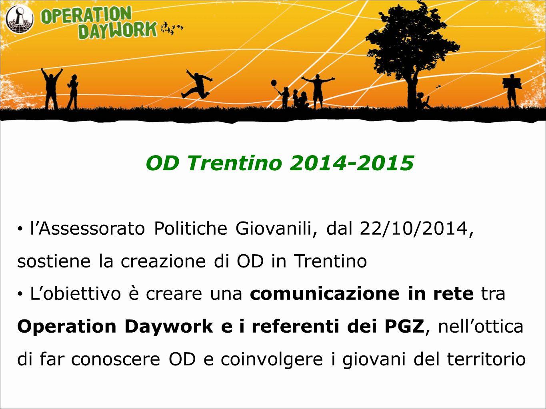 OD Trentino 2014-2015 l'Assessorato Politiche Giovanili, dal 22/10/2014, sostiene la creazione di OD in Trentino L'obiettivo è creare una comunicazione in rete tra Operation Daywork e i referenti dei PGZ, nell'ottica di far conoscere OD e coinvolgere i giovani del territorio