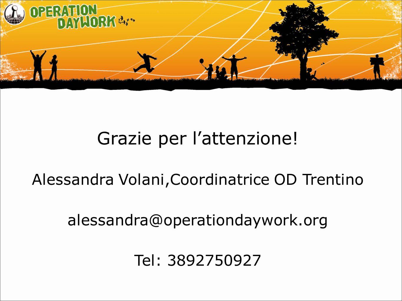 Grazie per l'attenzione! Alessandra Volani,Coordinatrice OD Trentino alessandra@operationdaywork.org Tel: 3892750927