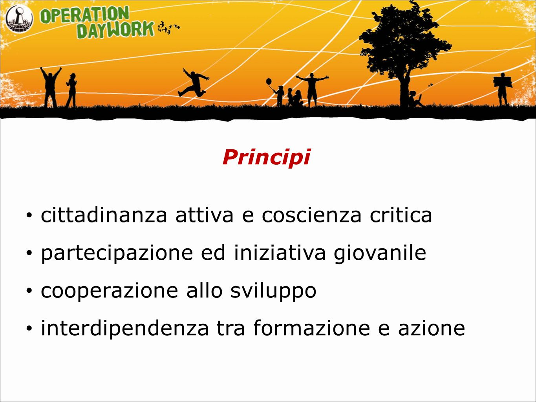 Principi cittadinanza attiva e coscienza critica partecipazione ed iniziativa giovanile cooperazione allo sviluppo interdipendenza tra formazione e azione
