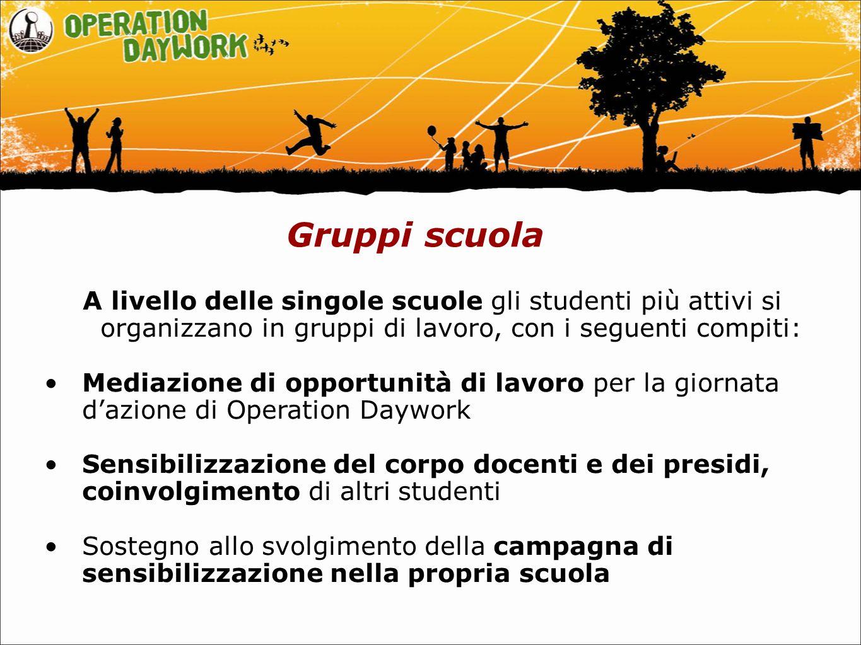 Gruppi scuola A livello delle singole scuole gli studenti più attivi si organizzano in gruppi di lavoro, con i seguenti compiti: Mediazione di opportu