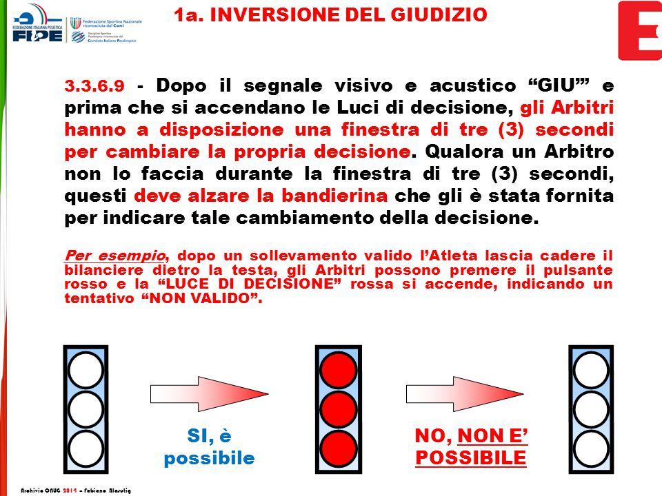 3.3.6.9 - Dopo il segnale visivo e acustico GIU' e prima che si accendano le Luci di decisione, gli Arbitri hanno a disposizione una finestra di tre (3) secondi per cambiare la propria decisione.