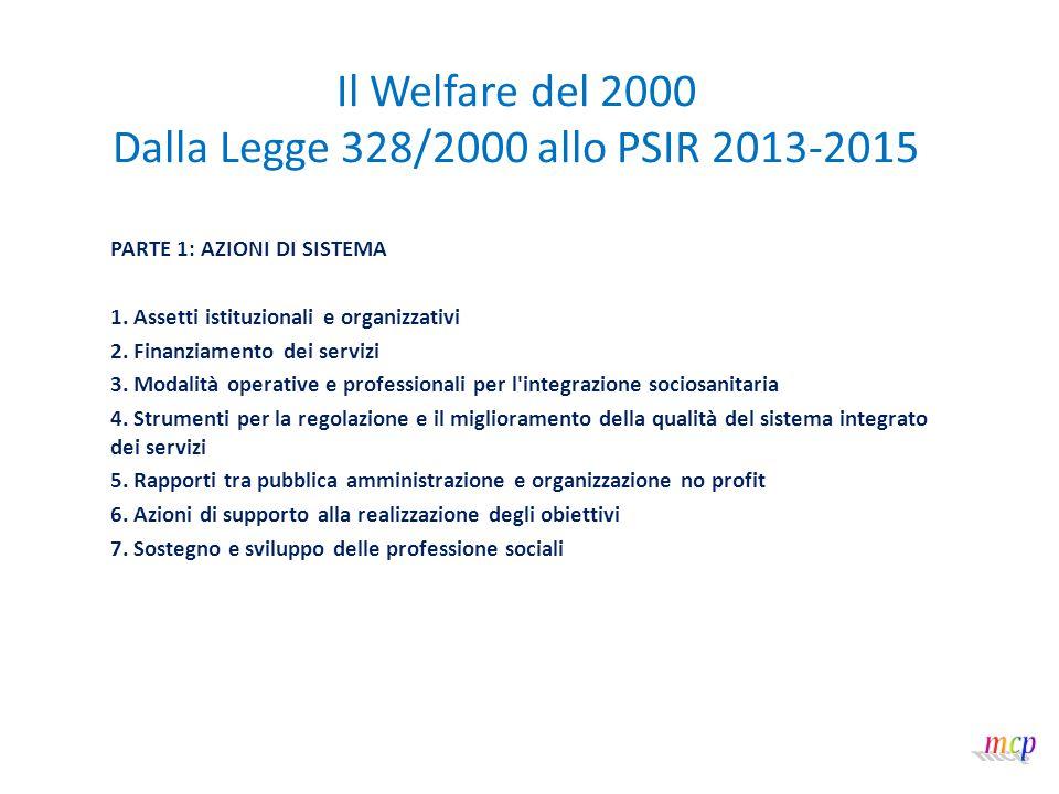 Il Welfare del 2000 Dalla Legge 328/2000 allo PSIR 2013-2015 1/2 Le Azioni di Sistema incidono su aspetti organizzativi e istituzionali per garantire la qualità della prestazione.