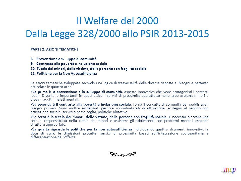 Il Welfare del 2000 Dalla Legge 328/2000 allo PSIR 2013-2015 PARTE 2: AZIONI TEMATICHE 8. Prevenzione e sviluppo di comunità 9. Contrasto alla povertà
