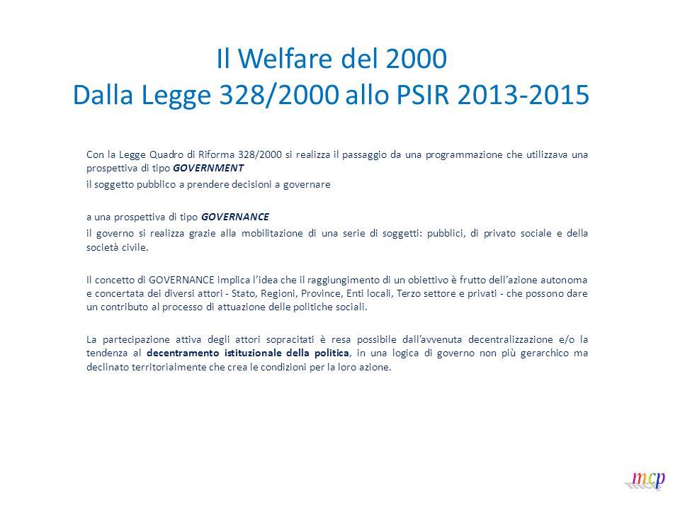 Il Welfare del 2000 Dalla Legge 328/2000 allo PSIR 2013-2015 LEGGE REGIONALE N.
