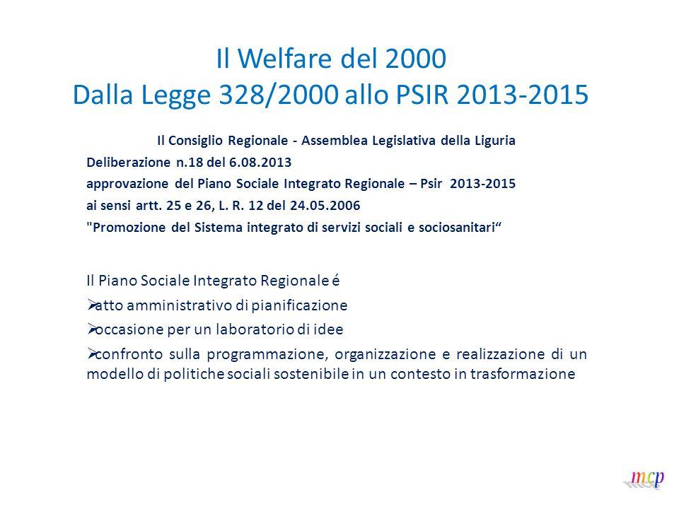Il Welfare del 2000 Dalla Legge 328/2000 allo PSIR 2013-2015 Il documento di Piano si apre con la citazione di un proverbio africano: Se vuoi andare veloce, vai da solo.