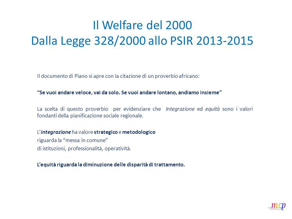 Il Welfare del 2000 Dalla Legge 328/2000 allo PSIR 2013-2015 Lo Psir è costituito da: 1.Prefazione 2.metodologia di sviluppo del Piano 3.obiettivi di servizio in Liguria 4.parte 1: azioni di sistema 5.parte 2: azioni tematiche 6.allegato 1 (assetti istituzionali territoriali) 7.allegato 2 (elenco referenti azioni di piano) 8.allegato 3 (crono programma generale) 9.allegato 4 (assetti organizzativi e istituzionali)