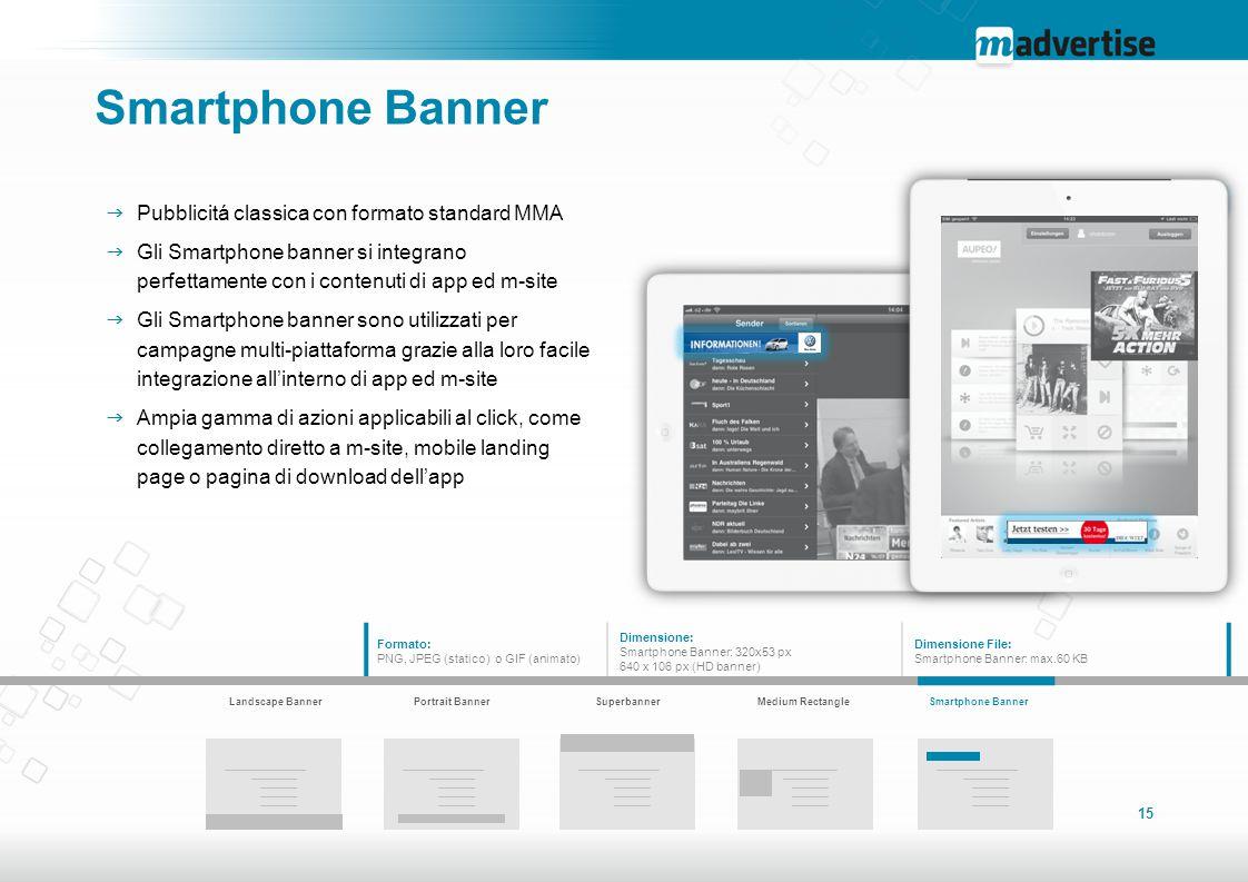 15 Smartphone Banner  Pubblicitá classica con formato standard MMA  Gli Smartphone banner si integrano perfettamente con i contenuti di app ed m-sit