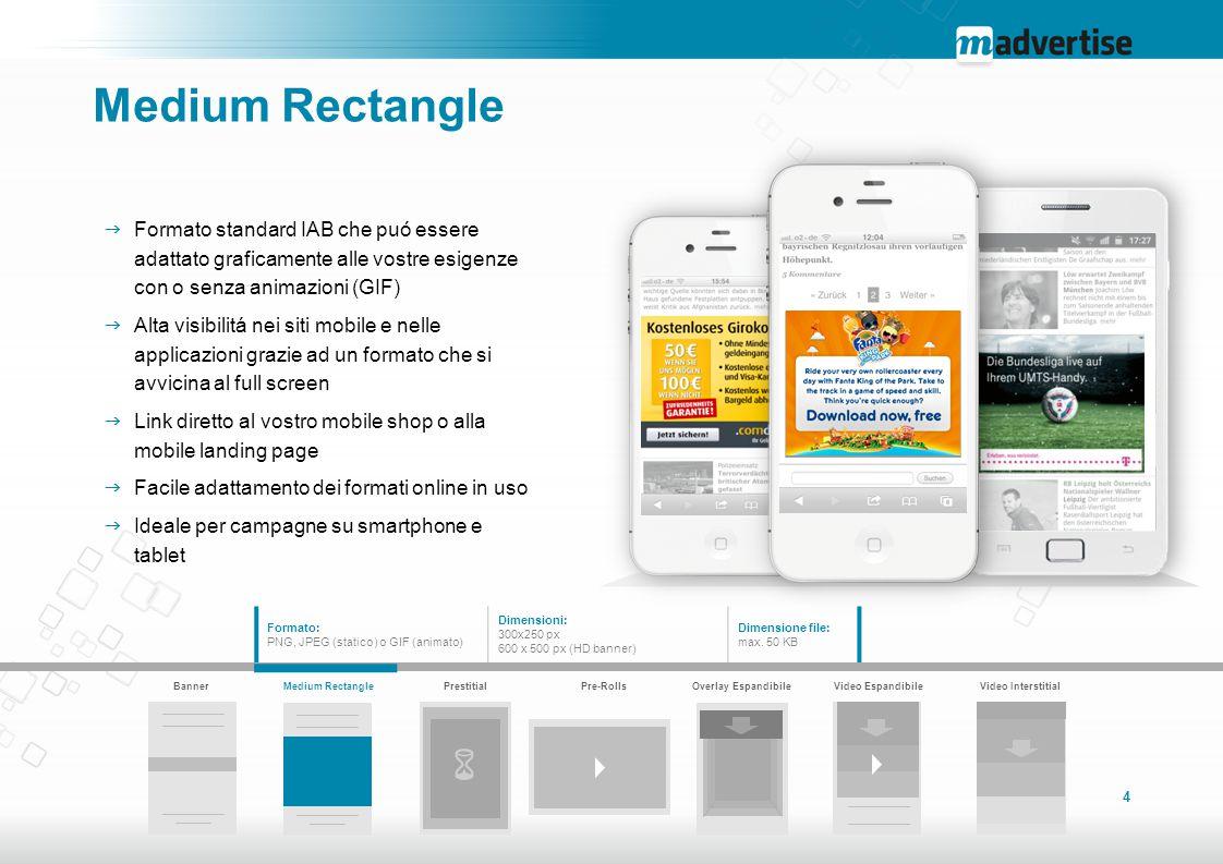 4 Medium Rectangle  Formato standard IAB che puó essere adattato graficamente alle vostre esigenze con o senza animazioni (GIF)  Alta visibilitá nei