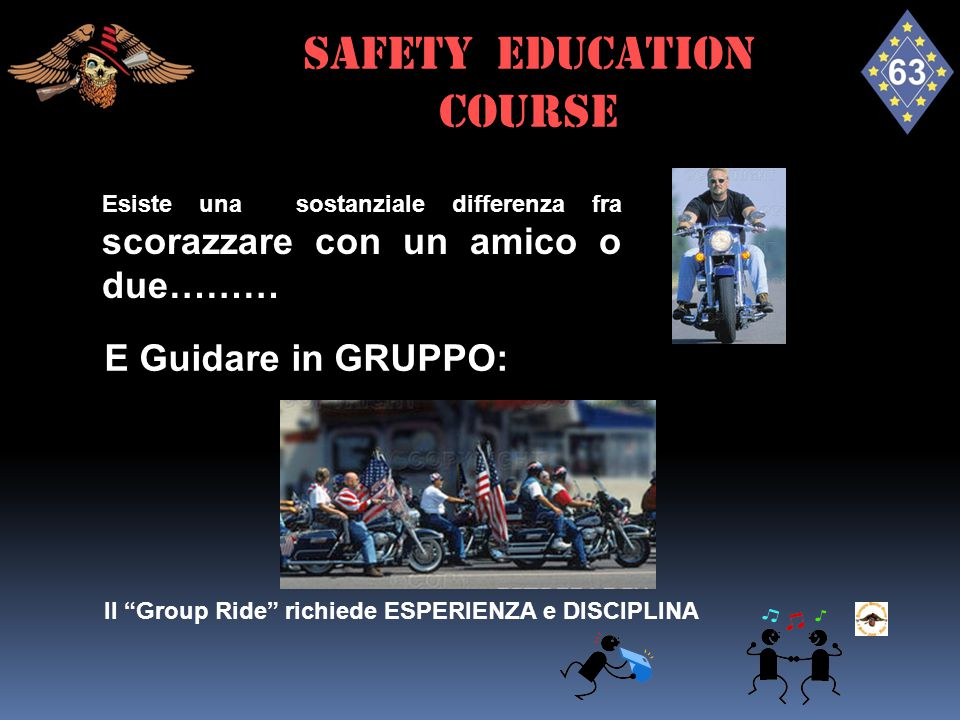 Esiste una sostanziale differenza fra scorazzare con un amico o due……… E Guidare in GRUPPO: Il Group Ride richiede ESPERIENZA e DISCIPLINA SAFETY EDUCATION course