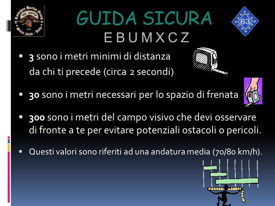 GUIDA SICURA E B U M X C Z  3 sono i metri minimi di distanza da chi ti precede (circa 2 secondi)  30 sono i metri necessari per lo spazio di frenat