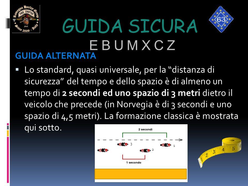 """GUIDA SICURA E B U M X C Z GUIDA ALTERNATA  Lo standard, quasi universale, per la """"distanza di sicurezza"""" del tempo e dello spazio è di almeno un tem"""