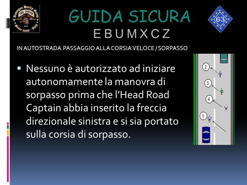 GUIDA SICURA E B U M X C Z IN AUTOSTRADA PASSAGGIO ALLA CORSIA VELOCE / SORPASSO  Nessuno è autorizzato ad iniziare autonomamente la manovra di sorpa