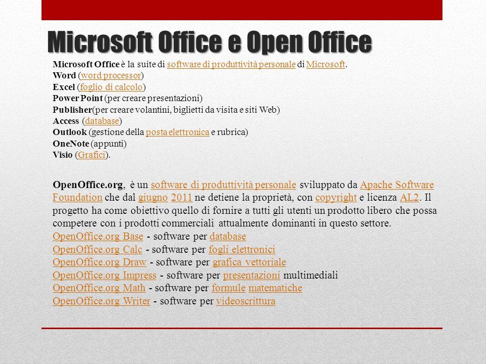 Microsoft Office e Open Office OpenOffice.org, è un software di produttività personale sviluppato da Apache Software Foundation che dal giugno 2011 ne