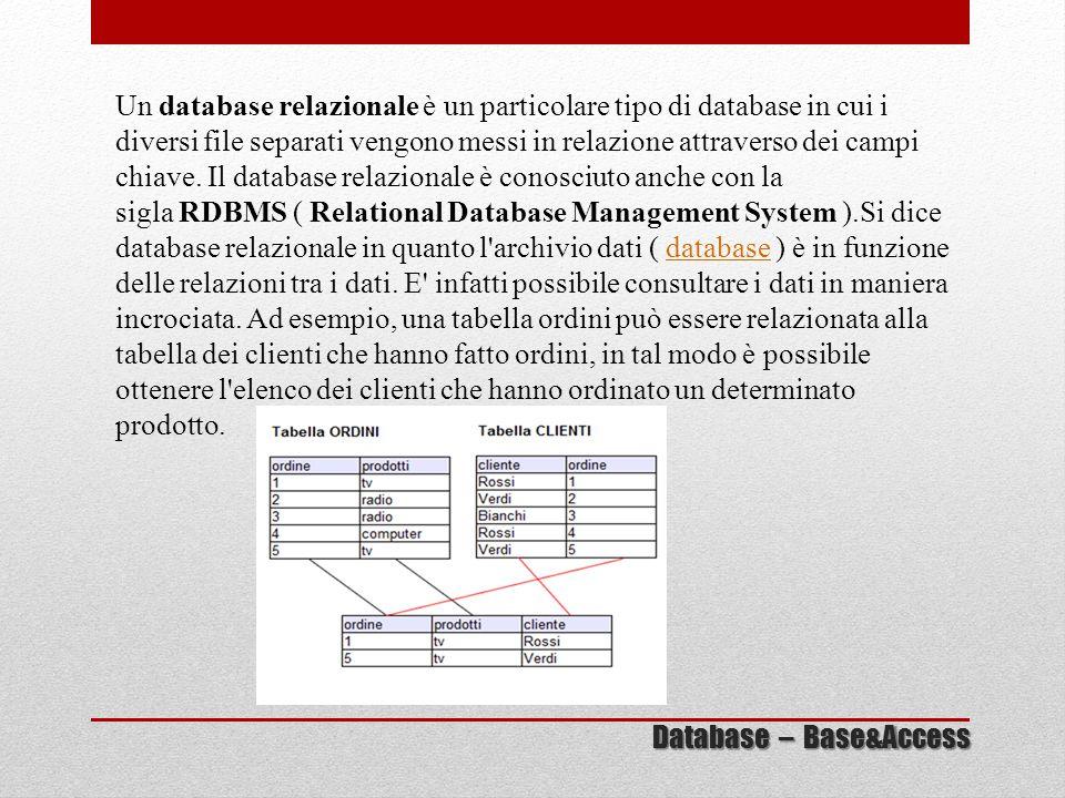 Un database relazionale è un particolare tipo di database in cui i diversi file separati vengono messi in relazione attraverso dei campi chiave. Il da
