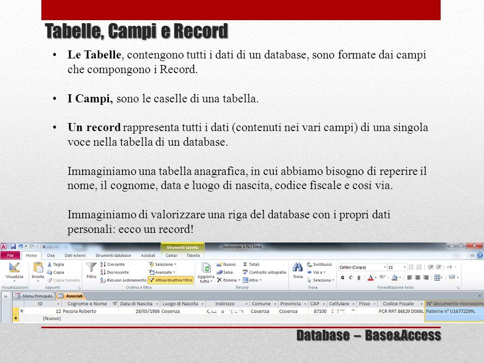 Le Tabelle, contengono tutti i dati di un database, sono formate dai campi che compongono i Record. I Campi, sono le caselle di una tabella. Un record