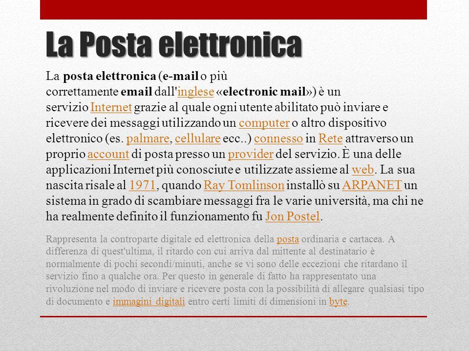 La Posta elettronica La posta elettronica (e-mail o più correttamente email dall'inglese «electronic mail») è un servizio Internet grazie al quale ogn