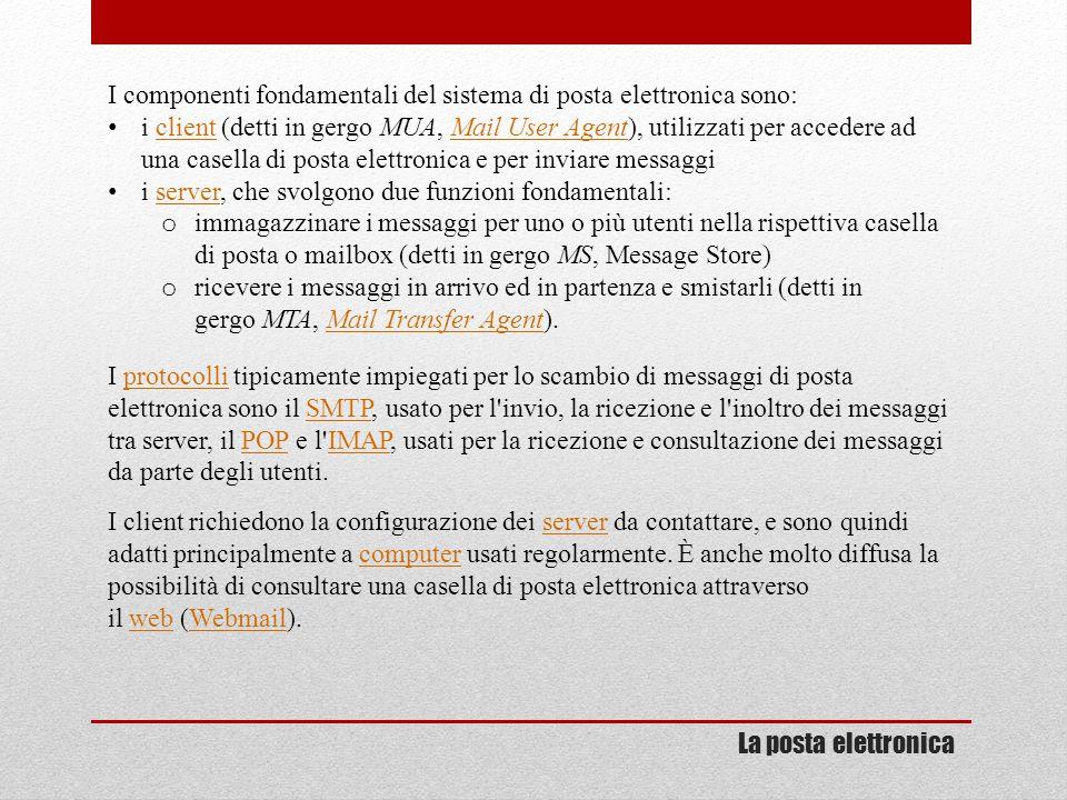 I componenti fondamentali del sistema di posta elettronica sono: i client (detti in gergo MUA, Mail User Agent), utilizzati per accedere ad una casell