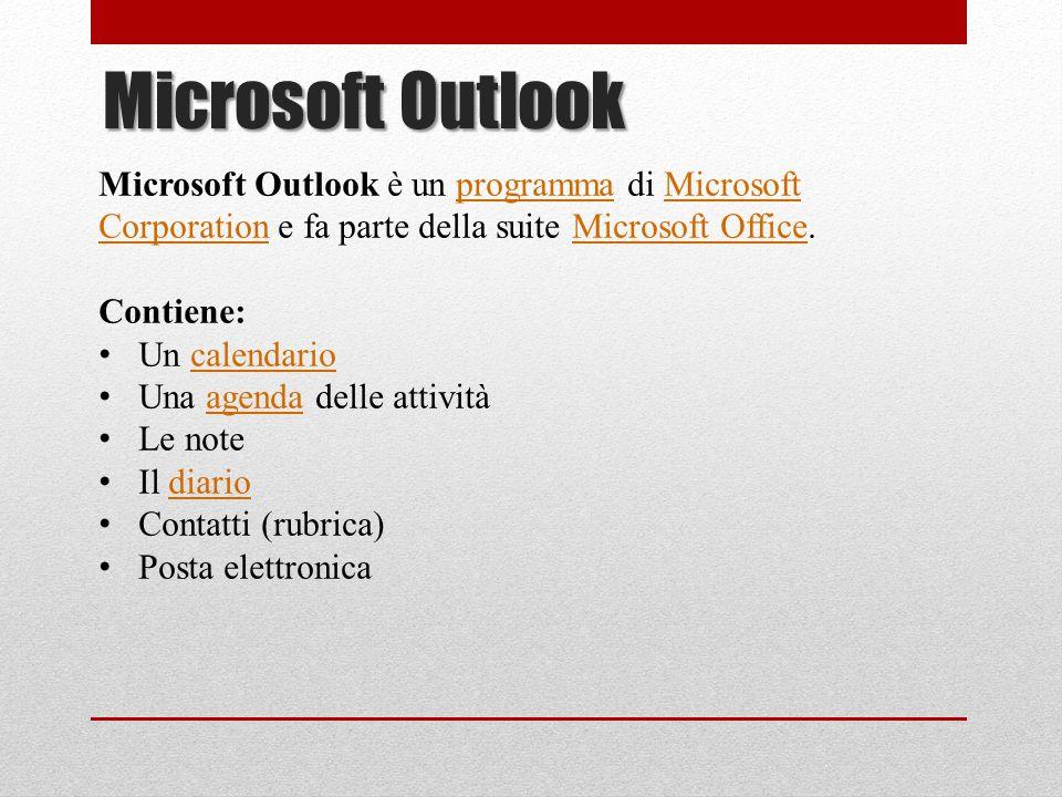Microsoft Outlook è un programma di Microsoft Corporation e fa parte della suite Microsoft Office.programmaMicrosoft CorporationMicrosoft Office Conti