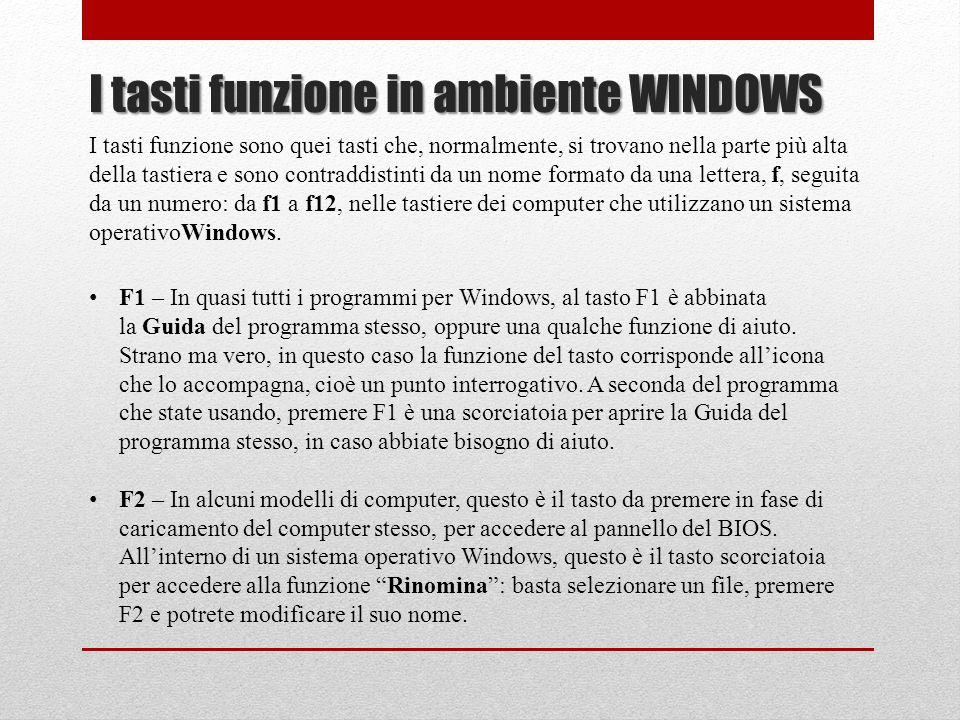 I tasti funzione in ambiente WINDOWS I tasti funzione sono quei tasti che, normalmente, si trovano nella parte più alta della tastiera e sono contradd