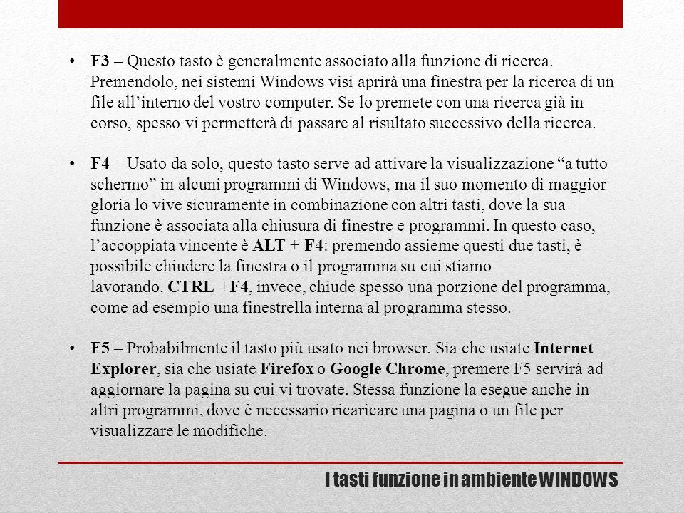 I tasti funzione in ambiente WINDOWS F3 – Questo tasto è generalmente associato alla funzione di ricerca. Premendolo, nei sistemi Windows visi aprirà