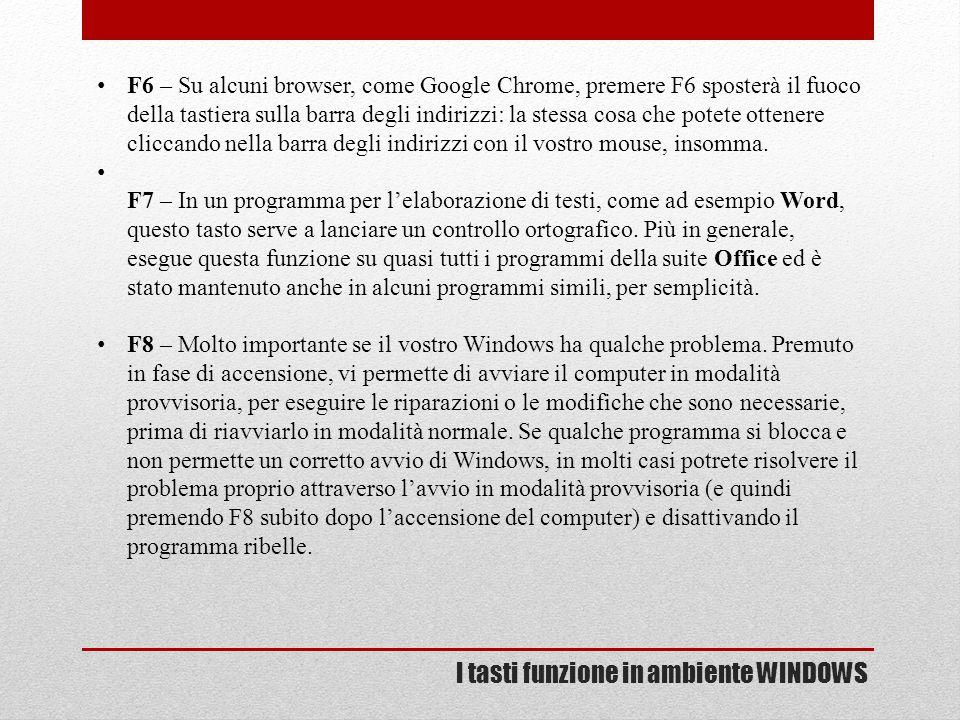 I tasti funzione in ambiente WINDOWS F6 – Su alcuni browser, come Google Chrome, premere F6 sposterà il fuoco della tastiera sulla barra degli indiriz