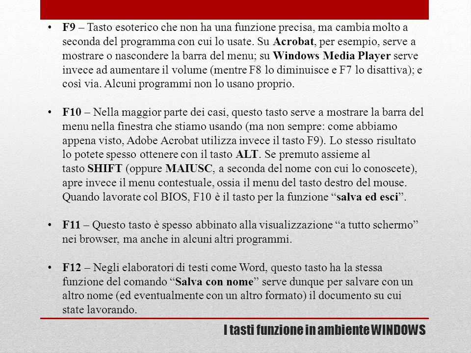 I tasti funzione in ambiente WINDOWS F9 – Tasto esoterico che non ha una funzione precisa, ma cambia molto a seconda del programma con cui lo usate. S