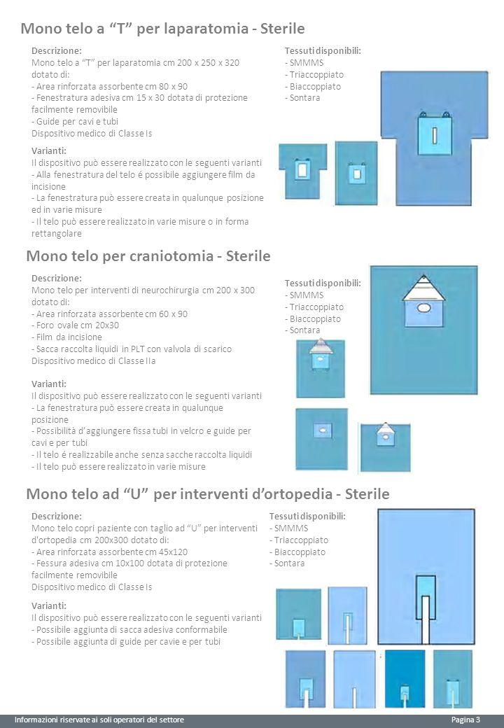 """Informazioni riservate ai soli operatori del settore Pagina 3 Mono telo a """"T"""" per laparatomia - Sterile Descrizione: Mono telo a """"T"""" per laparatomia c"""
