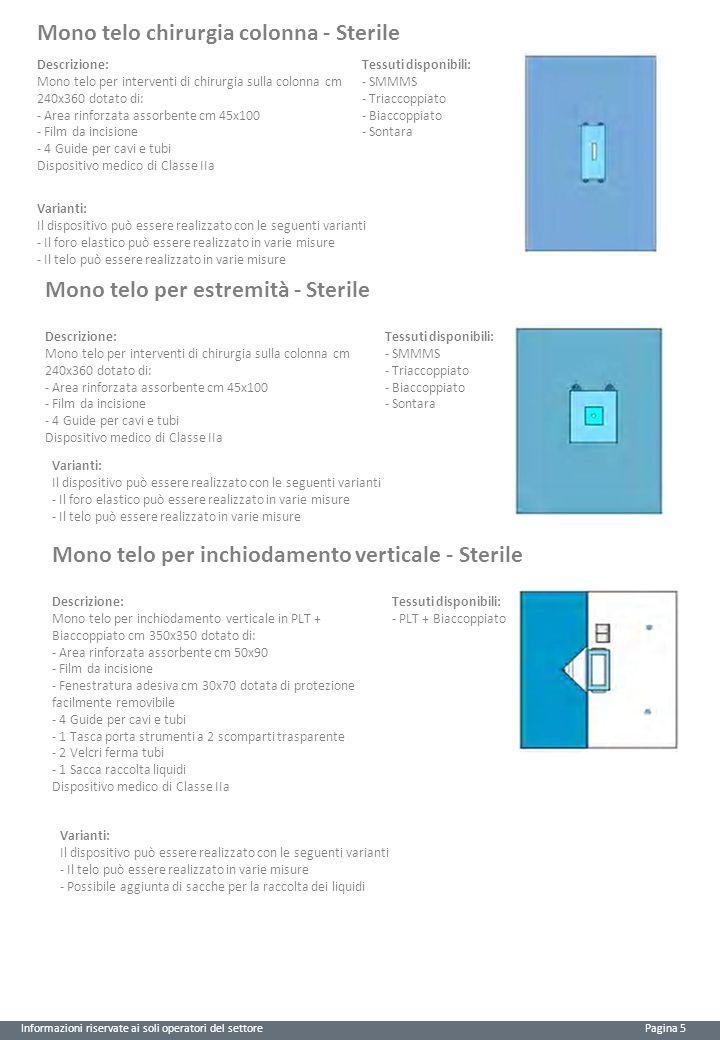 Informazioni riservate ai soli operatori del settore Pagina 5 Mono telo chirurgia colonna - Sterile Descrizione: Mono telo per interventi di chirurgia