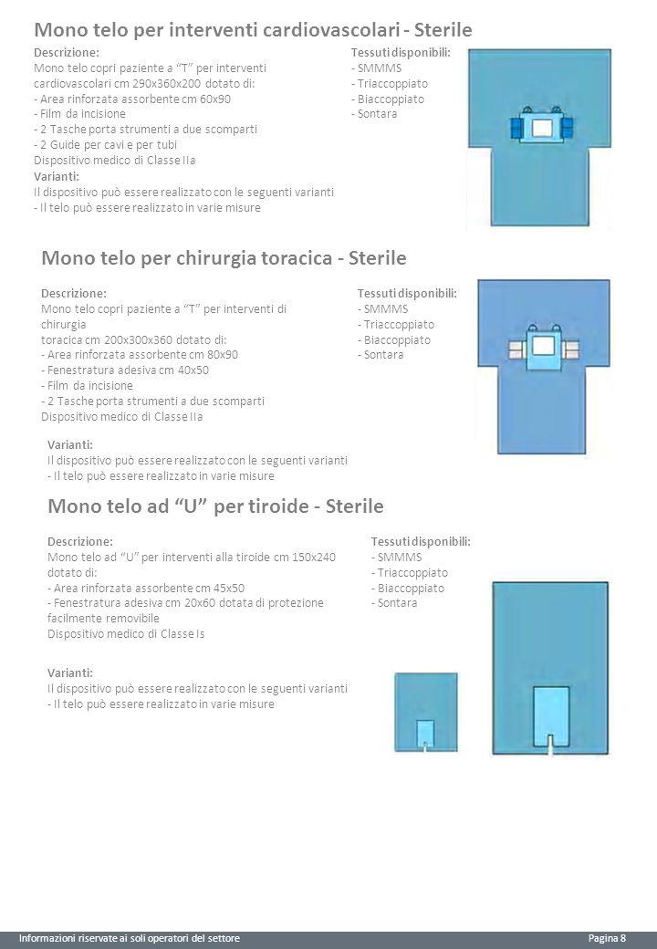 Informazioni riservate ai soli operatori del settore Pagina 8 Mono telo per interventi cardiovascolari - Sterile Descrizione: Mono telo copri paziente a T per interventi cardiovascolari cm 290x360x200 dotato di: - Area rinforzata assorbente cm 60x90 - Film da incisione - 2 Tasche porta strumenti a due scomparti - 2 Guide per cavi e per tubi Dispositivo medico di Classe IIa Tessuti disponibili: - SMMMS - Triaccoppiato - Biaccoppiato - Sontara Varianti: Il dispositivo può essere realizzato con le seguenti varianti - Il telo può essere realizzato in varie misure Mono telo per chirurgia toracica - Sterile Descrizione: Mono telo copri paziente a T per interventi di chirurgia toracica cm 200x300x360 dotato di: - Area rinforzata assorbente cm 80x90 - Fenestratura adesiva cm 40x50 - Film da incisione - 2 Tasche porta strumenti a due scomparti Dispositivo medico di Classe IIa Tessuti disponibili: - SMMMS - Triaccoppiato - Biaccoppiato - Sontara Varianti: Il dispositivo può essere realizzato con le seguenti varianti - Il telo può essere realizzato in varie misure Mono telo ad U per tiroide - Sterile Descrizione: Mono telo ad U per interventi alla tiroide cm 150x240 dotato di: - Area rinforzata assorbente cm 45x50 - Fenestratura adesiva cm 20x60 dotata di protezione facilmente removibile Dispositivo medico di Classe Is Varianti: Il dispositivo può essere realizzato con le seguenti varianti - Il telo può essere realizzato in varie misure Tessuti disponibili: - SMMMS - Triaccoppiato - Biaccoppiato - Sontara