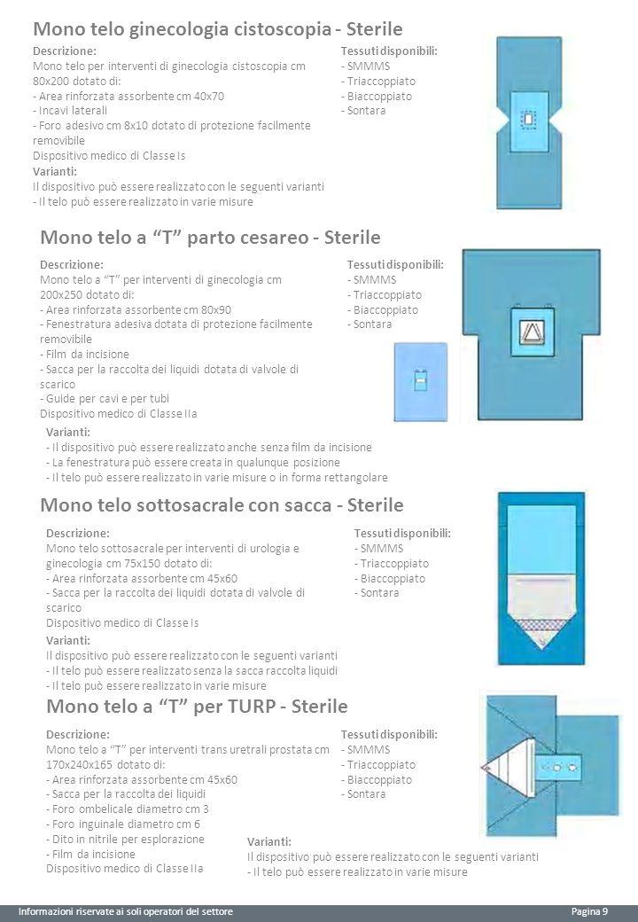 Informazioni riservate ai soli operatori del settore Pagina 9 Mono telo ginecologia cistoscopia - Sterile Descrizione: Mono telo per interventi di ginecologia cistoscopia cm 80x200 dotato di: - Area rinforzata assorbente cm 40x70 - Incavi laterali - Foro adesivo cm 8x10 dotato di protezione facilmente removibile Dispositivo medico di Classe Is Tessuti disponibili: - SMMMS - Triaccoppiato - Biaccoppiato - Sontara Varianti: Il dispositivo può essere realizzato con le seguenti varianti - Il telo può essere realizzato in varie misure Mono telo a T parto cesareo - Sterile Descrizione: Mono telo a T per interventi di ginecologia cm 200x250 dotato di: - Area rinforzata assorbente cm 80x90 - Fenestratura adesiva dotata di protezione facilmente removibile - Film da incisione - Sacca per la raccolta dei liquidi dotata di valvole di scarico - Guide per cavi e per tubi Dispositivo medico di Classe IIa Tessuti disponibili: - SMMMS - Triaccoppiato - Biaccoppiato - Sontara Varianti: - Il dispositivo può essere realizzato anche senza film da incisione - La fenestratura può essere creata in qualunque posizione - Il telo può essere realizzato in varie misure o in forma rettangolare Mono telo sottosacrale con sacca - Sterile Descrizione: Mono telo sottosacrale per interventi di urologia e ginecologia cm 75x150 dotato di: - Area rinforzata assorbente cm 45x60 - Sacca per la raccolta dei liquidi dotata di valvole di scarico Dispositivo medico di Classe Is Varianti: Il dispositivo può essere realizzato con le seguenti varianti - Il telo può essere realizzato senza la sacca raccolta liquidi - Il telo può essere realizzato in varie misure Tessuti disponibili: - SMMMS - Triaccoppiato - Biaccoppiato - Sontara Descrizione: Mono telo a T per interventi trans uretrali prostata cm 170x240x165 dotato di: - Area rinforzata assorbente cm 45x60 - Sacca per la raccolta dei liquidi - Foro ombelicale diametro cm 3 - Foro inguinale diametro cm 6 - Dito in nitrile per esplorazione - Film da incisione Dis