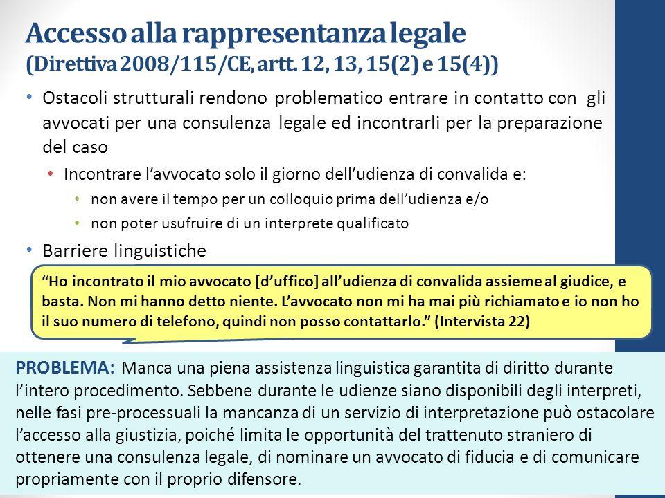 Accesso alla rappresentanza legale (Direttiva 2008/115/CE, artt.